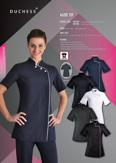 The Madri beauty salon tunic reflects the style of oriental influences. It is common to see these stylish beauty tops at niche salons and spa's across Johannesburg and Cape Town. The fashionable design of the madri salon top caters to beauty therapists looking for a versatile beautician uniform. In addition to style, the durability of this beauty salon clothing range makes them perfectly suited daily use in busy health and beauty salons     • Salon tunic designed with back darts for a…