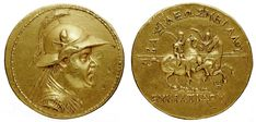 Gold 20-stater of Eucratides, the largest gold coin of Antiquity. The coin weighs 169.2 grams, and has a diameter of 58 millimeters.