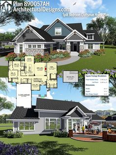 Architectural Designs Craftsman House Plan 890057AH gives you over 2,400+ square feet of heated living space. Ready when you are, where do YOU want to build? #890057AH #adhouseplans #architecturaldesigns #houseplan #architecture #newhome #newconstruction #newhouse #homedesign #dreamhome #dreamhouse #homeplan #architecture #craftsmanhouse #craftsmanplan