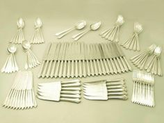 Sterling Silver Canteen of Cutlery for Twelve Persons - Art Deco Style - Vintage