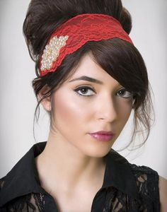 JJ: Lace Headband with Beaded and Rhinestone Applique.