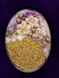 """Transfer on 2"""" Porcelain Button with Coralene and 22K Gold. Self Shank Signed CR 2012"""