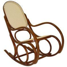 Clássica Cadeira de balanço Austríaca - Thonet - em madeira ... assento e espaldar, de palha.