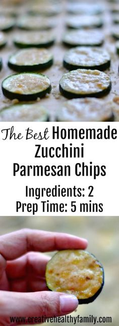 This is really The Best Homemade Zucchini Parmesan Chips recipe because it is so easy to make (you only need two ingredients), and the chips are really delicious. Perfect for a healthy snack or finger food for a party. Gluten free, paleo and keto diet fri Parmesan Chips, Zucchini Parmesan, Zucchini Chips, Recipe Zucchini, Zucchini Noodles, Side Dish Recipes, Low Carb Recipes, Whole Food Recipes, Great Recipes
