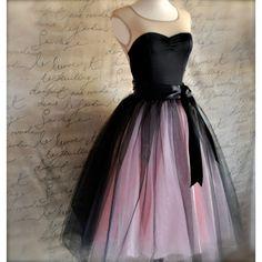 vestiido bufante preto e rosa ($185) via Polyvore