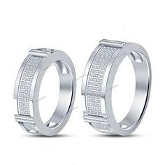 Couples Round D/VVS1 Diamond Ring Pave Matching Wedding Band 14k White Gold…