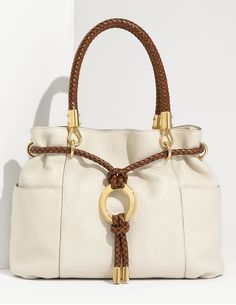 Michael Kors Skorpios Drawstring Satchel Vanilla Leather