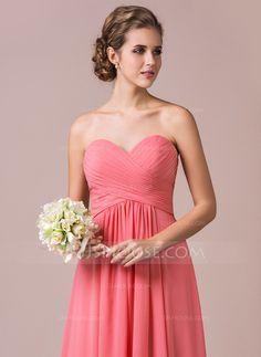 A-Line/Princess Sweetheart Floor-Length Chiffon Bridesmaid Dress With Ruffle (007056569)
