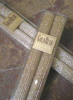 Amazon.com - 8 Inch Natural Beeswax Glitter Candles, Fools Gold Color, Boxed Set of 2 - Gold Tapers, Platinum Tapers also available