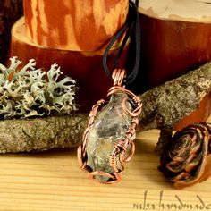Prasiolite (Green Amethyst) Crystal Pendant Copper Wire Wrapped Artisan Jewelry #MBAHandmade #Wrap
