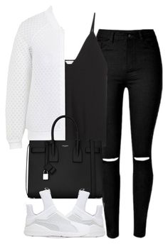 """""""Untitled #4193"""" by maddie1128 ❤ liked on Polyvore featuring Christopher Esber, Topshop, Yves Saint Laurent and Puma"""