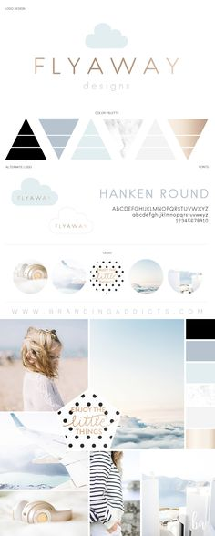 Minimal Scandinavian style with a playful touch. This branding look was tastefully crafted for a fabulous flight based children's product brand based in Switzerland.Clouds. Children. Playful. Light. Airy. Bright. Minimal. Blue. Dusty Blue. Marble. Rose Gold. Gold. Grey. Sky. Sunset. Kids. Professional Business Branding and marketing by Designer Laine Napoli. Web Design, Logo, Mood Board, Brand Boards, and more.