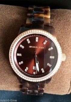 Michael Kors Ritz Glitz 38mm Swarovski Rose-gold Tortoise Bracelet Watch MK3258A #MichaelKors #Fashion