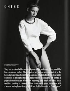 """Chess novella"" (Editorial on Nu-Mode´ Magazine (New York) October 14). Photo - Dmitry Nevlad, model - Ella Zadavysvichka (Linea 12), style - Sonya Matveeva, make-up - Natalya Goncharenko, hair - Maryna Trofimets, apparel - LARA QUINT.   http://issuu.com/numodemag/docs/noir_blanc_no.12_issuu_edition"