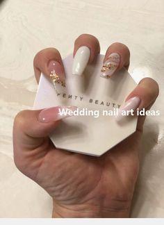 Nail art Christmas - the festive spirit on the nails. Over 70 creative ideas and tutorials - My Nails Natural Wedding Nails, Simple Wedding Nails, Wedding Nails Design, Diy Wedding, Rustic Wedding, Coffin Nails, Gel Nails, Acrylic Nails, Marble Nails