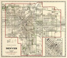 The map of Denver from 1920 - print. ----------- The image for this print was digitally enhanced for best appearance. Most of the folding signs and