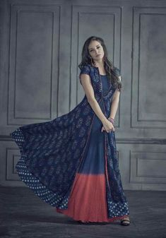 Buy Elegant Navy Blue Colored Designer Printed Rayon Kurti at Rs. Get latest Printed kurti at Peachmode. Kurti Designs Party Wear, Salwar Designs, Blouse Designs, Indian Gowns, Indian Attire, Indian Wear, Kalamkari Dresses, Ikkat Dresses, Indian Designer Outfits