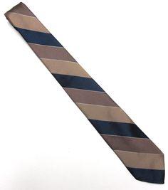 Brown Blue Necktie Don Loper 3 Wide Tie Stripe by sweetie2sweetie