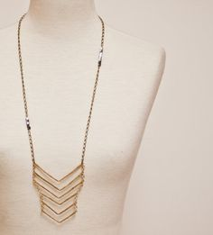 Brass Chevron Geometric Necklace with Hematite by CSfootprints