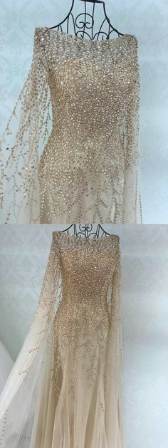 fairy dress, champagne long prom dress, long sleeves prom dress, 2017 prom dress, evening dress, party dress