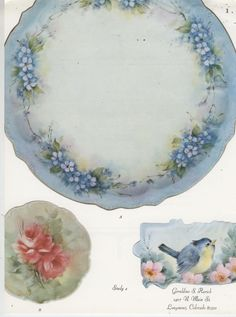Forget Me Nots Red Roses Bluebird by Geraldine Rarick China Painting Study | eBay