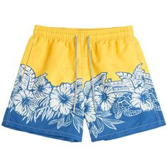 Vilebrequin Printed Swim Trunks ($145) ❤ liked on Polyvore featuring men's fashion, men's clothing, men's swimwear, yellow and vilebrequin mens swimwear