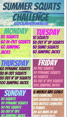 A workout for each day of the week and a weekly abdominal exercise goal.
