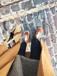 Orange Old Skool Vans are the new favourite sneakers of Lucy Williams from Fashion Me Now and Alex Stedman of The Frugality. See and shop them here.