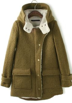++ army green plain long sleeve thick wool coat