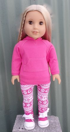 Pink hoodie by GumbieCatDollClothes on Etsy. Made with the Hoodie Dress pattern. Get it at http://www.pixiefaire.com/collections/123-mulberry-st/products/hoodie-dress-18-doll-clothes. #pixiefaire #hoodiedress
