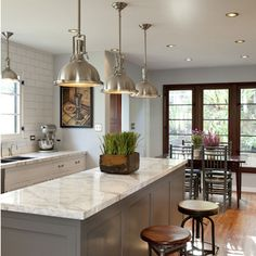 gray kitchen dark doors