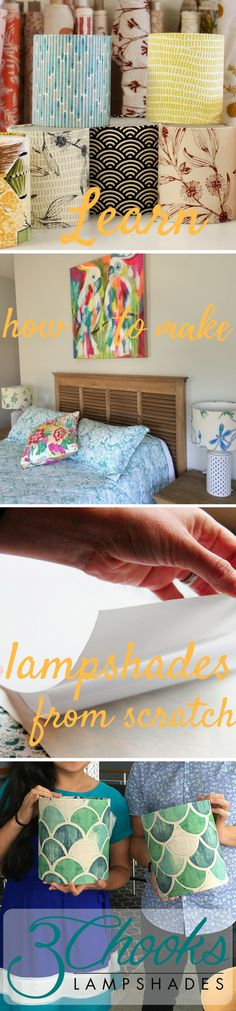 Learn how to make lampshades from scratch - 3Chooks Lampshade Making Kits from $59.95 and workshops - cover lampshades with fabric. Plus we stock a range of lampshade frames, lampshade paper, adhesive styrene and other lampshade making supplies. Lampshade Kits, Make A Lampshade, Lampshades, Paper Frames, Adhesive, Range, Cover, How To Make, Fabric