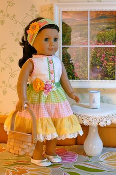 American Girl, 18 Inch Doll Clothes: Easter Dress In Gingham Gathered Tiers With…