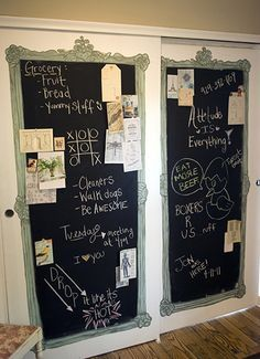 Chalkboard closet doors! You could chalk the design of your initials on the doors :