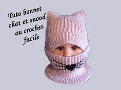 14f55c00aec TUTO BONNET CHAT ET SNOOD AU CROCHET - YouTube Bonnet Enfant Crochet