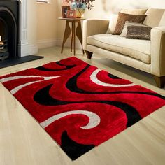 AllStar Rugs Shaggy Area Rug with 3D Black Lines Design, Contemporary Hand Tufted.