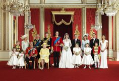 The Royal Wedding Group in the Throne Room at Buckingham Palace on 29th April 2011 with the Bride and Groom, TRH The Duke and Duchess of Cambridge in the centre.    Front row (left to right): Miss Grace van Cutsem, Miss Eliza Lopes, HRH The Duke of Edinburgh, HM The Queen, The Hon. Margarita Armstrong-Jones, Lady Louise Windsor, Master William Lowther-Pinkerton.    Back Row (left to right): Master Tom Pettifer, HRH The Duchess of Cornwall, HRH The Prince of Wales, HRH Prince Henry of Wales…