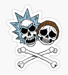 'Crossbones' Sticker by Stack Rick And Morty Drawing, Rick And Morty Tattoo, Tatuaje Rick And Morty, Pintura Hippie, Rick And Morty Stickers, Rick I Morty, Ricky And Morty, Skull Rose Tattoos, Skull Artwork