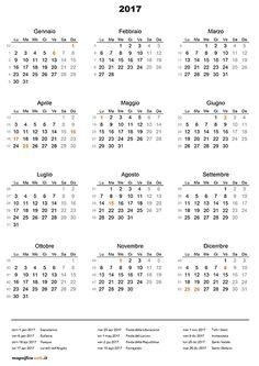 Calendario 2017 con festività da stampare in formato A4