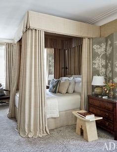 In this Chicago duplex, a guest room's walls and folding screens are layered with Gracie wall coverings.