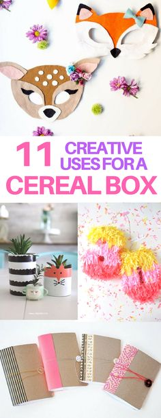 GENIUS ways to repurpose or upcycle a cereal box! DIY paper masks, pinatas, plant pots, and notebooks all from a cereal box! I love DIY decor projects that repurpose everyday objects.