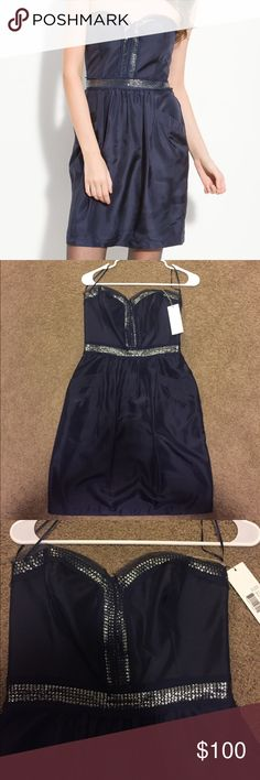 Rebecca Taylor dress Brand new with tags. No damages, smells or stains! Super cute strapless with elastic piece inside! Silly feeling. Dark blue. Size 4. Perfect for a hot day! Rebecca Taylor Dresses Strapless