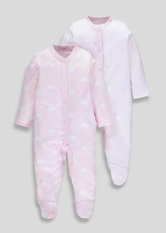 Girls 2 Pack Cloud & Stripe Sleepsuits (Tiny Baby-18mths) – – Matalan