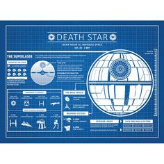 You'll love the Sci-Fi and Fantasy 'Star Wars Death Star Infographic' Silk Screen Print Graphic Art in Blue Grid/White Ink at Wayfair - Great Deals on all Décor & Pillows products with Free Shipping on most stuff, even the big stuff.