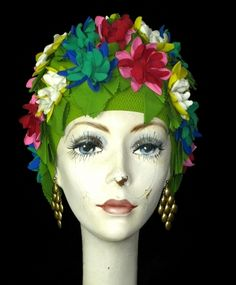 Let's not forget the bathing cap.  Vintage Floral Olympic Swimming Cap!  Felt