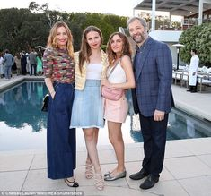 Party time: Leslie Mann and Judd Apatow are proud parents to two young daughters, Iris and Maud. And on Saturday the power couple - who have worked together on This Is 40 and Knocked Up - took their girls out to a fancy event Rose Colored Dress, Light Grey Suits, Leslie Mann, Molly Sims, Blonde Fashion, Two Daughters, Family Affair, Asylum, Wide Leg Trousers