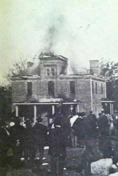 the old Heard County jail burning
