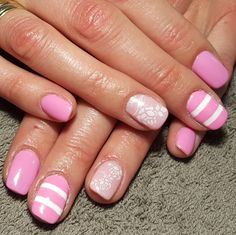 nails, accent nail, gelish, shellac, gellac, nail art, roses, floral, flower, leaves, white, pink, stripes, lines, pastel