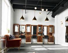 vintage barbershop cabinet features in this warehouse wedding venue in illinois