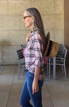 Classic-Fashion-Over-40-Skinny-Jeans-Talbots-Plaid-Shirt-Straw-Hat-Lanyard